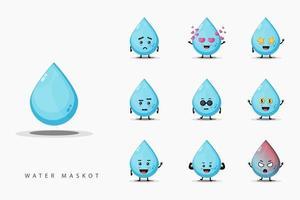 Cute water mascot set vector