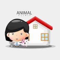 Illustration of animal clinic with cute animals vector
