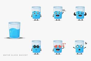 Cute water glass mascot design set vector