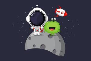 Ilustración de lindos astronautas y extraterrestres en la luna. vector