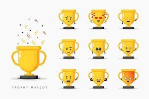 Cute trophy mascot design set vector