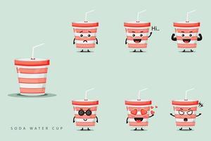 lindo juego de mascota de taza de agua de soda vector