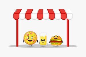 lindo diseño de mascota de pizza, refresco y hamburguesa vector
