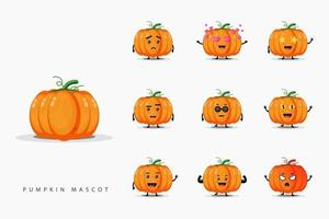 Cute pumpkin mascot design set vector