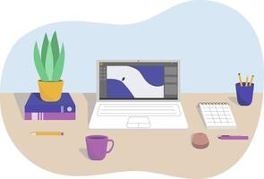 Flat illustration of a desktop in the office or a freelancer from home in an abstract bubble shape. vector