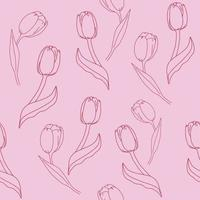 Seamless pattern with red tulips on a pink background. Floral background Vector illustration.