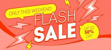 Flash sale red banner design. Discount, deal, shopping promotion web template. Vector marketing