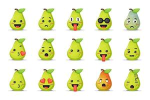 Set of cute pear with emoticons vector