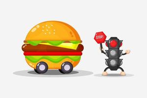 Mascot burger car design with traffic light vector