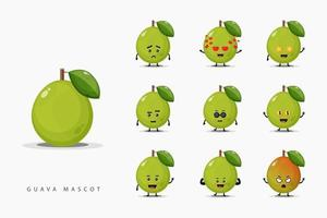 Set of cute mascot guava vector