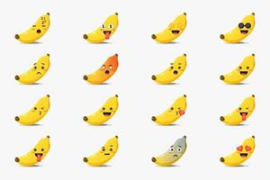 Set of cute banana with emoticons vector