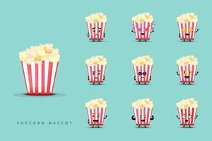 Set of cute popcorn mascots vector