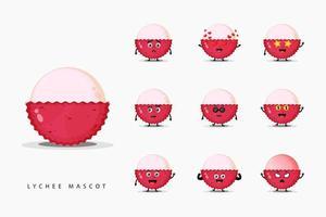 Set of cute lychee mascot vector