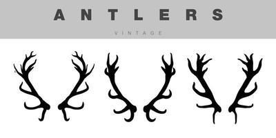 antlers vintage silhouette set black vector