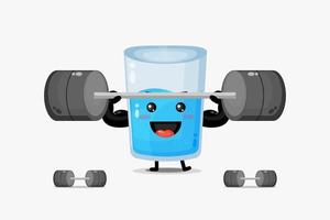 Cute water glass mascot lifting a barbell vector