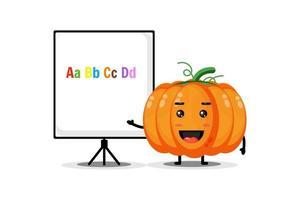 The cute pumpkin mascot explains the alphabet vector