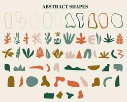 Minimalist boho abstract nature art shapes collection. Various shapes, lines, spots, dots, doodle objects. Modern mid century hand drawn plant leaf and tropical shape decoration set.