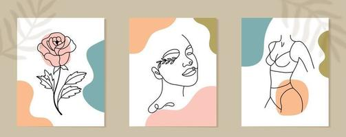 Set of Woman Face and flowers continuous Line art. Abstract Contemporary collage of geometric shapes in a modern trendy style. Vector Portrait of a female. For Beauty Concept, t-Shirt Print, postcard