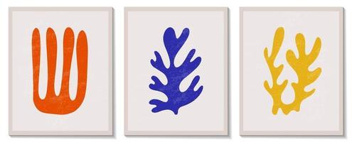 Trendy contemporary set of abstract matisse geometric minimalist artistic hand painted algae composition. Vector posters for wall decor in mid century modern style