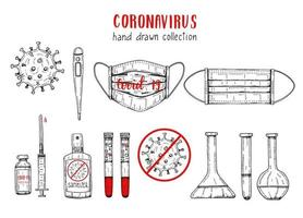 Coronavirus icons set in sketch style. Hand drawn flask, Coronavirus bacteria, vaccine, syringe, blood, thermometer, medical mask, positive and negative test, sanitizer. Covid-19 engraving illustration