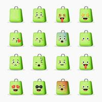 Set of cute bag with expressions vector