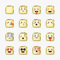 Set of sandwich with emoticons vector