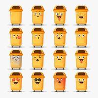 lindo bote de basura con emoticonos vector