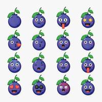 conjunto de lindos arándanos con emoticonos vector