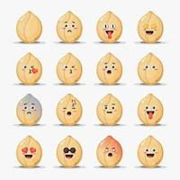 conjunto de lindos cacahuetes con emoticonos vector
