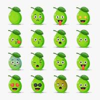 Set of cute lime with emoticons vector