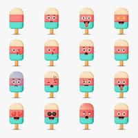 Set of cute ice cream with emoticons vector