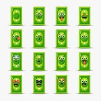 Cute money banknote with emoticons set vector
