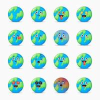 Set of cute Earth with expressions vector