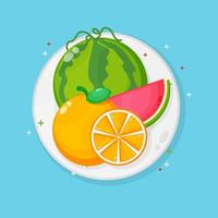 Watermelon and oranges on a plate vector