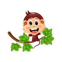 Cute monkey on tree vector