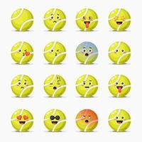 conjunto de linda pelota de tenis con expresiones vector