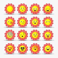 Set of cute flower with emoticons vector