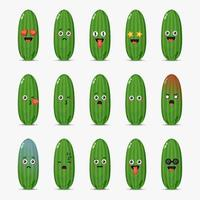 Set of cute cucumber with emoticons vector