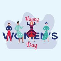 Happy women's day card with Four women of different ethnicities and cultures standing side by side together. vector