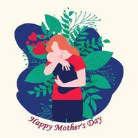 Vector Illustration Of Mother huging Baby in Arms.