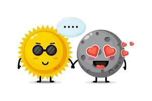 Cute sun and moon mascot holding hands vector