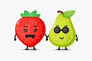 Linda mascota de fresa y pera tomados de la mano vector