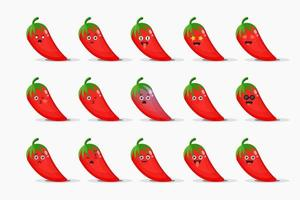 Cute red chilies with emoticons set vector