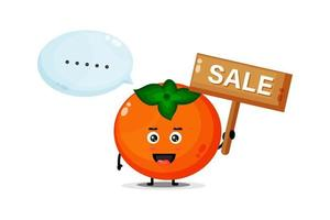Cute persimmon mascot with the sales sign vector