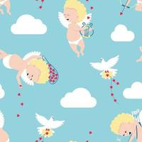 Seamless pattern of cupids - symbols of valentine's day vector