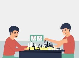 Los niños juegan al ajedrez con un reloj para controlar el tiempo. vector