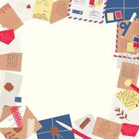Frame made of envelopes, letters, postcards, postage stamps vector