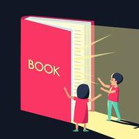 el niño y la niña miran el libro con sorpresa y admiración vector