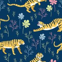 patrón sin fisuras con poses de tigre. Tigre rayado sobre un fondo de plantas con césped y hojas vector