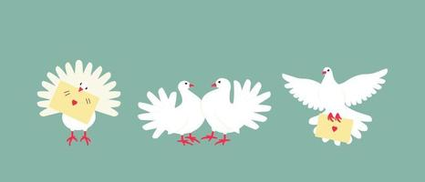 A set of white doves is a symbol of peace and family well-being vector
